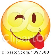 Clipart Yellow Goofy Cartoon Smiley Emoticon Face 7 Royalty Free Vector Illustration