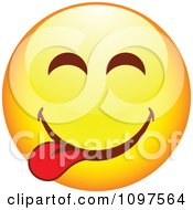 Clipart Yellow Goofy Cartoon Smiley Emoticon Face 6 Royalty Free Vector Illustration