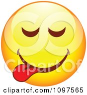 Clipart Yellow Goofy Cartoon Smiley Emoticon Face 3 Royalty Free Vector Illustration