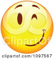 Clipart Flirty Winking Yellow Cartoon Smiley Emoticon Face 3 Royalty Free Vector Illustration