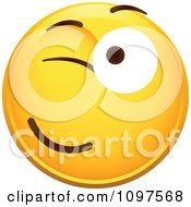 Clipart Flirty Winking Yellow Cartoon Smiley Emoticon Face 1 Royalty Free Vector Illustration