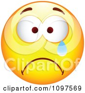 Clipart Crying Yellow Cartoon Smiley Emoticon Face 1 Royalty Free Vector Illustration