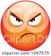 Clipart Red Bully Cartoon Smiley Emoticon Face 3 Royalty Free Vector Illustration