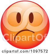 Clipart Red Sad Cartoon Smiley Emoticon Face 2 Royalty Free Vector Illustration