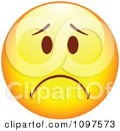 Clipart Yellow Cartoon Smiley Emoticon Face Frowning 1 Royalty Free Vector Illustration