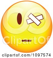 Clipart Yellow Cartoon Smiley Emoticon Face With A Bandaged Eye Royalty Free Vector Illustration