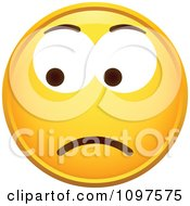 Clipart Yellow Worried Cartoon Smiley Emoticon Face 6 Royalty Free Vector Illustration