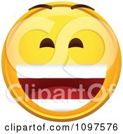 Clipart Laughing Yellow Cartoon Smiley Emoticon Face 3 Royalty Free Vector Illustration