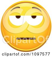 Clipart Yellow Grumpy Cartoon Smiley Emoticon Face 1 Royalty Free Vector Illustration