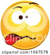 Clipart Disgusted Yellow Cartoon Smiley Emoticon Face Royalty Free Vector Illustration