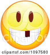Clipart Yellow Cartoon Smiley Emoticon Face With A Missing Tooth Royalty Free Vector Illustration