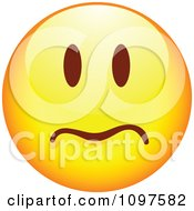 Clipart Yellow Worried Cartoon Smiley Emoticon Face 1 Royalty Free Vector Illustration