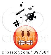Clipart Red Bully Cartoon Smiley Emoticon Face 2 Royalty Free Vector Illustration
