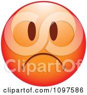 Clipart Red Sad Cartoon Smiley Emoticon Face 1 Royalty Free Vector Illustration