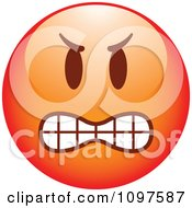 Clipart Red Bully Cartoon Smiley Emoticon Face 1 Royalty Free Vector Illustration