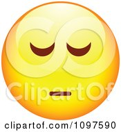 Clipart Depressed Yellow Cartoon Smiley Emoticon Face Royalty Free Vector Illustration