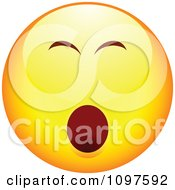 Clipart Bored Yawning Yellow Cartoon Smiley Emoticon Face Royalty Free Vector Illustration