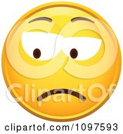 Clipart Yellow Grumpy Cartoon Smiley Emoticon Face 2 Royalty Free Vector Illustration
