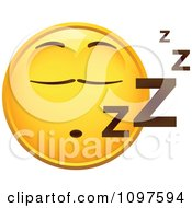 Clipart Snoozing Yellow Emoticon Smiley Face Royalty Free Vector Illustration