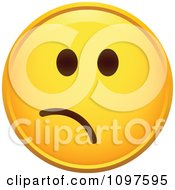 Clipart Worried Yellow Emoticon Smiley Face Royalty Free Vector Illustration