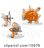 Two Orange Men Working Together To Conquer An Obstacle A Dragon