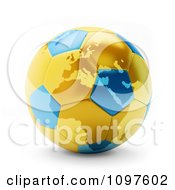 Clipart 3d Gold And Blue Polish Ukraine Euro 2012 Football Championships Soccer Ball Royalty Free CGI Illustration