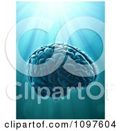 Clipart 3d Human Brain Over Light Rays Royalty Free CGI Illustration