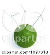 3d Grassy Globe With Wind Energy Turbines