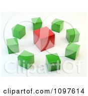 Clipart 3d Green Cubes Around A Red Cube Royalty Free CGI Illustration by Mopic