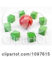 Clipart 3d Green Cubes Around A Red Sphere Royalty Free CGI Illustration