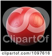Clipart 3d Red Woodeh Sphere On Black Royalty Free CGI Illustration