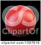 3d Red Woodeh Sphere On Black