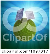 Clipart 3d Grassy Planet With Solar Power Panels Royalty Free CGI Illustration