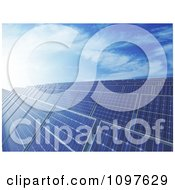 Clipart 3d Blue Photovoltaic Solar Energy Panels Under A Blue Sky Royalty Free CGI Illustration