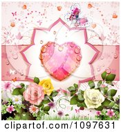 Clipart Wedding Or Valentines Day Background With A Dewy Pink Heart Butterfly And Roses Royalty Free Vector Illustration