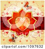 Wedding Or Valentines Day Background With A Dewy Orange Floral Heart Red Rose Stripe And Butterflies Over Orange