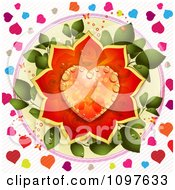 Clipart Wedding Or Valentines Day Background With A Dewy Orange And Red Rose Heart Over Leaves And Colorful Hearts Royalty Free Vector Illustration