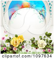 Spring Time Or Wedding Background Dewy Roses And Butterflies With Copyspace