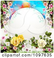 Spring Time Or Wedding Background Blossoms Dewy Roses And Butterflies With Copyspace
