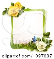Green Spring Time Yellow And White Rose Frame With A Butterfly
