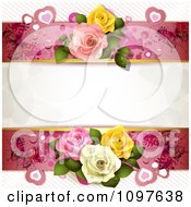 Wedding Or Valentines Background With Copyspace Bordered By Dewy Roses Hearts And Butterflies