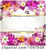 Clipart Pink And Orange Lily And Floral Blossom Wedding Background With Gold Borders Around Copyspace Royalty Free Vector Illustration by merlinul