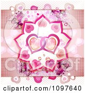Clipart Wedding Or Valentines Background With Butterflies Halftone Dots And Entwined Hearts Royalty Free Vector Illustration