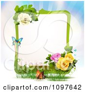 Green Spring Time Yellow Pink And White Rose Frame With Butterflies
