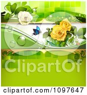 Clipart Spring Time Or Wedding Background With Yellow And White Roses And A Butterfly On Green Royalty Free Vector Illustration