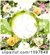 Valentines Day Or Wedding Background With Pink Yellow And White Dewy Roses And Copyspace