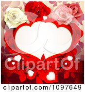 Clipart Red Wedding Or Valentines Background With Dewy Roses Butterflies And Copyspace Royalty Free Vector Illustration