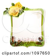 Green Spring Time Yellow Rose Frame With Butterflies