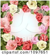 Clipart Valentines Day Or Wedding Background With Pink And White Dewy Roses Encircling Copyspace Royalty Free Vector Illustration