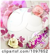 Clipart Wedding Or Valentines Background With Dewy Roses Dots Hearts And Butterflies Around Copyspace Royalty Free Vector Illustration